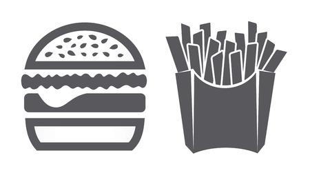 Hamburger en frietjes iconen Stock Illustratie
