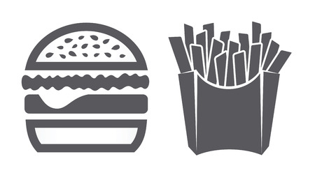 Hamburger and fries icons