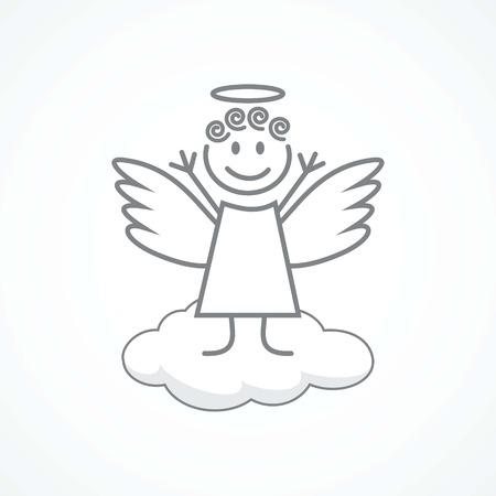 birthday angel: Angel wings on a cloud