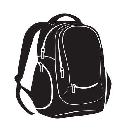 school backpack: Backpack on white background