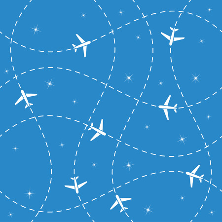 Airplane routes and stars seamless