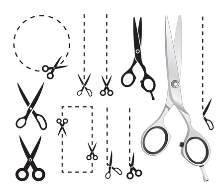 scissors cutting paper: Set of scissors Illustration