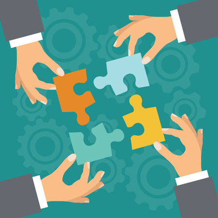 business partner: Business concept. Illustration with hands and puzzle. Illustration