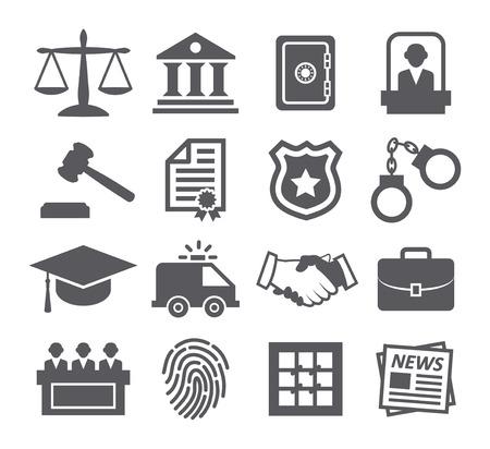 Prawo ikony Ilustracje wektorowe