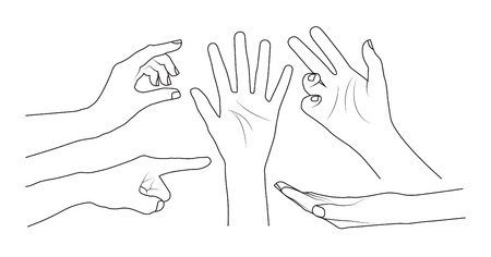 pointing up: Set of hands Illustration