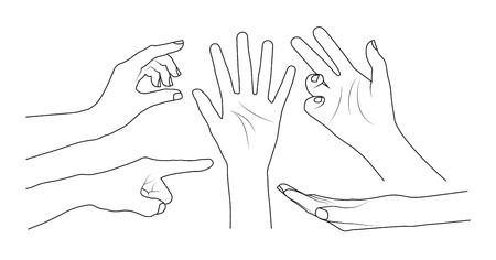 finger index: Set of hands Illustration