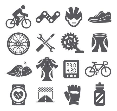 cadenas: Ciclismo iconos Vectores