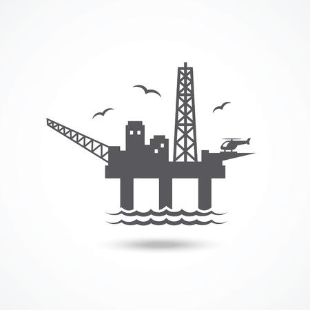 torres petroleras: Icono de la plataforma petrolera Vectores