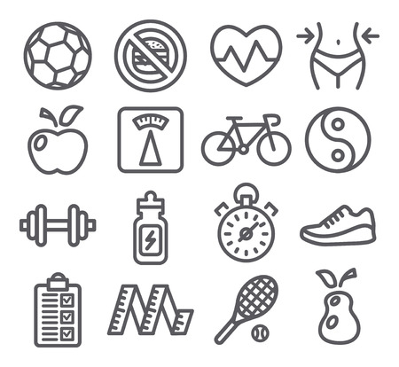 waist weight: Health and Fitness line icons