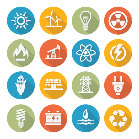 Energie-iconen Stock Illustratie