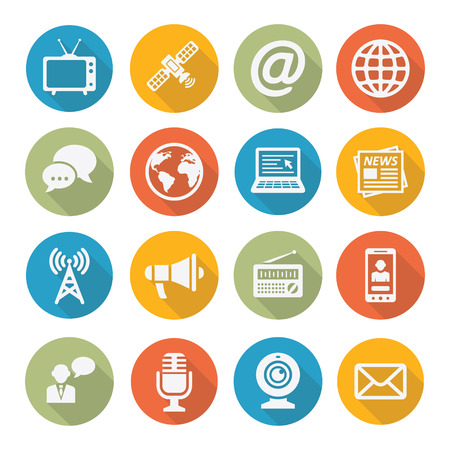 social network service: Media Icons Illustration