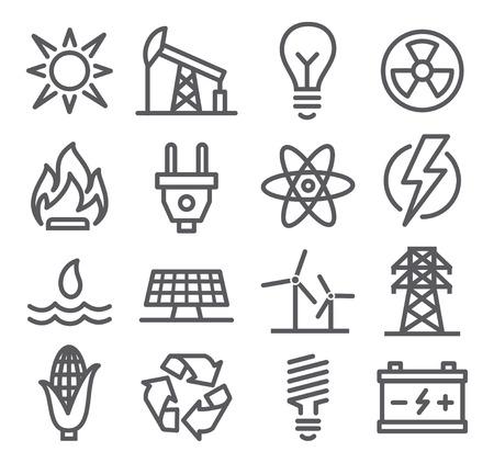 Energie lijn iconen