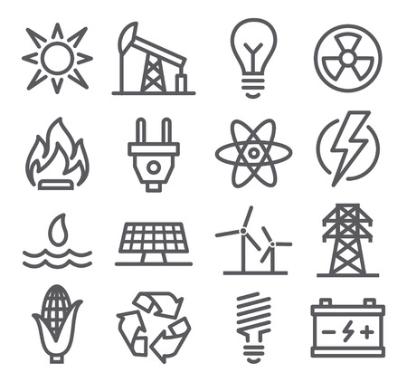 energia electrica: Iconos de la l�nea de energ�a Vectores