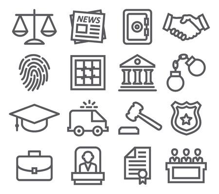 Law line icons Illustration