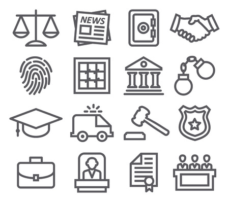 Law line icons Stock Illustratie