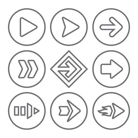 designator: Arrow sign icon set Illustration