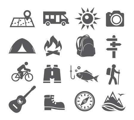 actividades recreativas: Los iconos de camping