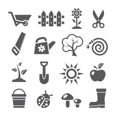 arbol de manzanas: Iconos de jardinería Vectores
