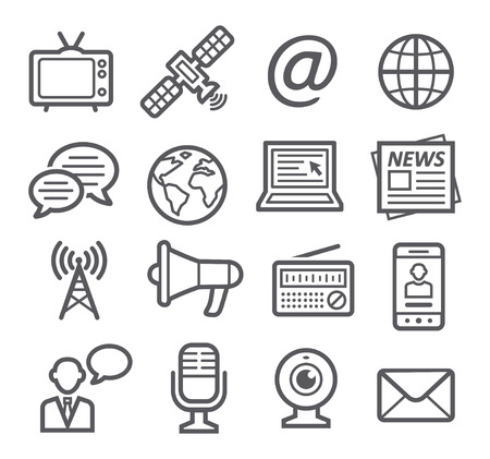 internet radio: Media Icons Illustration