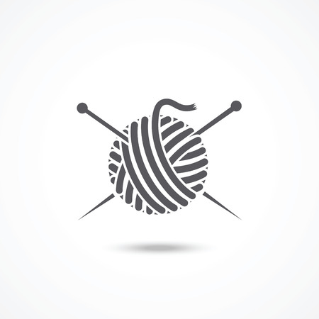 Yarn ball and needles icon Vectores