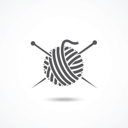 Piłka przędzy i igły ikona Ilustracje wektorowe