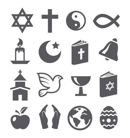 christian prayer: Religion icons Illustration
