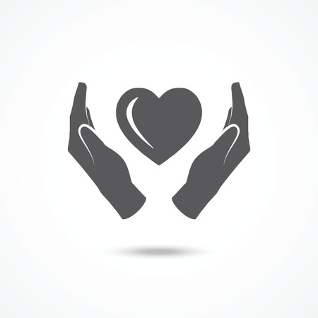 day care: Heart in hands icon Illustration