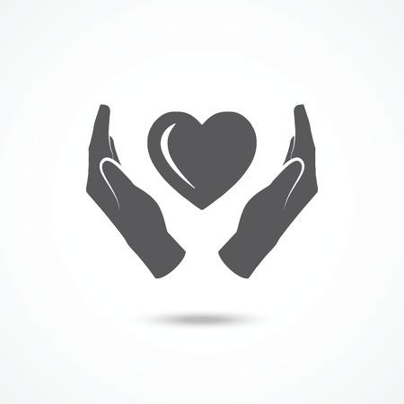 Coeur dans les mains icône