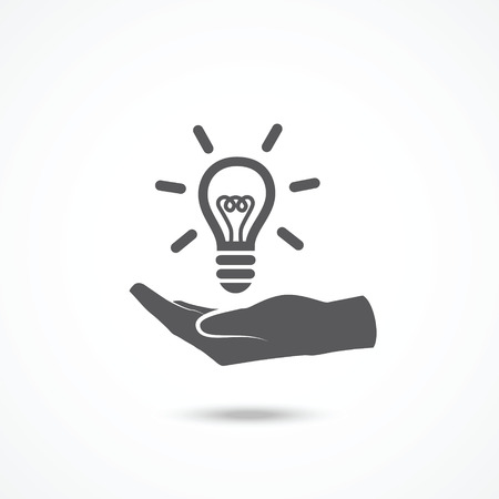 represent: Light bulb in hand icon