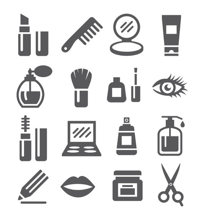 Grey Cosmetics Icon set on white background