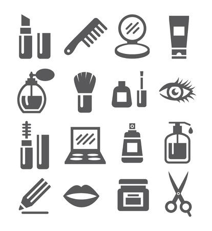 Grijs Cosmetica Icon set op een witte achtergrond