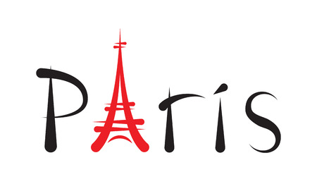 famous painting: Tower Eiffel with Paris lettering on white Illustration