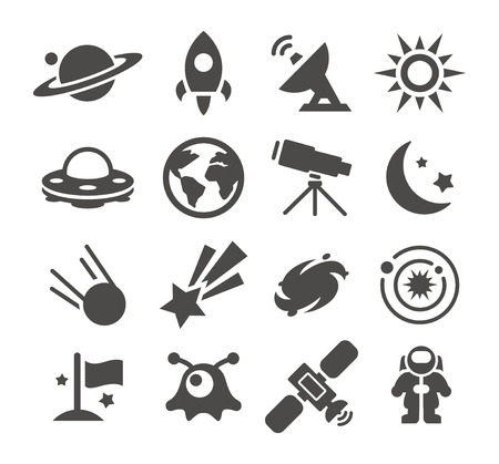 Gray Space icons set on white background