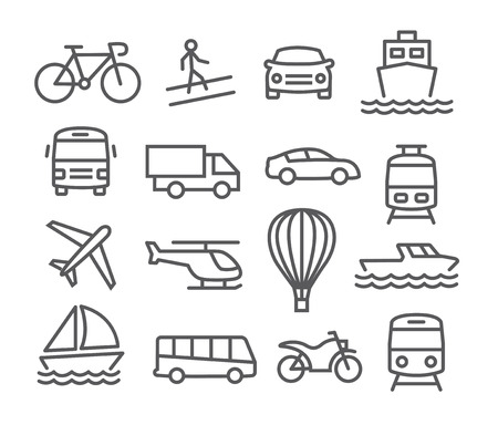 Gray Transport line  icons on white background