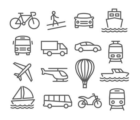 Gray Transport lijn iconen op een witte achtergrond Stockfoto - 40656972