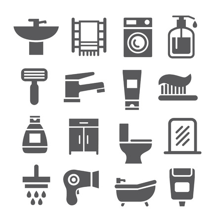bath treatment: Grey Bathroom icon set on white background