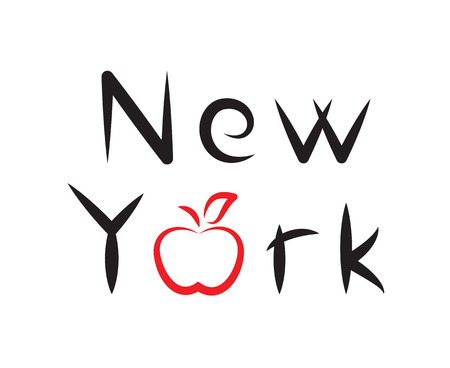 big apple: New York lettering with apple sign on white