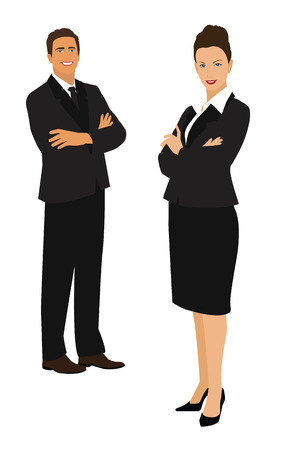 whie: Businessman and businesswoman isolated on whie background Illustration