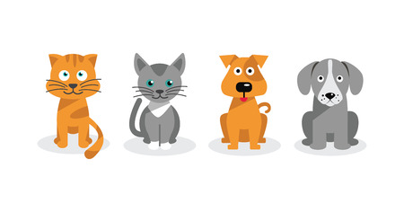 cruelty: Dogs and cats isolated on white background Illustration
