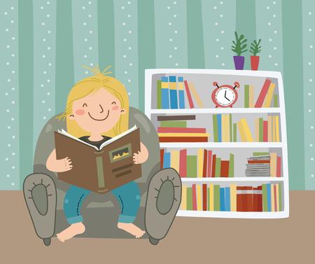 leggere libro: Amo leggere bambina ha letto il libro Vettoriali