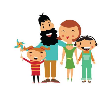 happy family: Hijo Padre madre de familia feliz y su hija