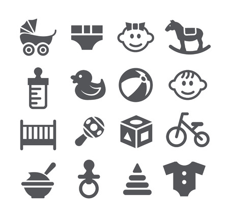 Gray Baby icons set on white background