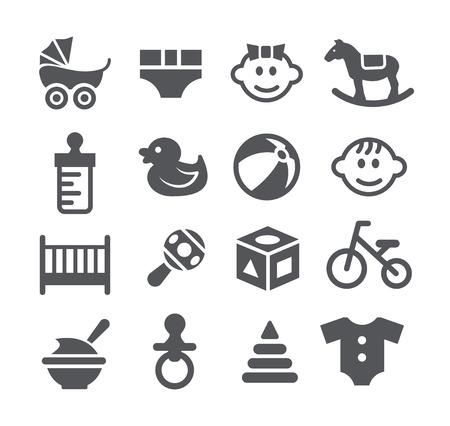 letti: Icone grigio del bambino ha regolato su sfondo bianco Vettoriali