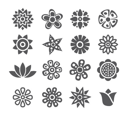 Gray Flower icon set on white background Vector