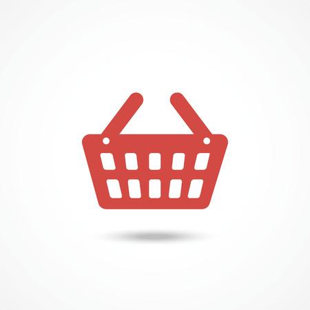 shopping basket: Red Shopping basket icon on white background