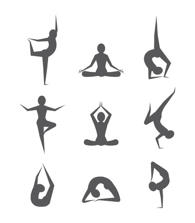 joga: Gray Yoga poses set on white background