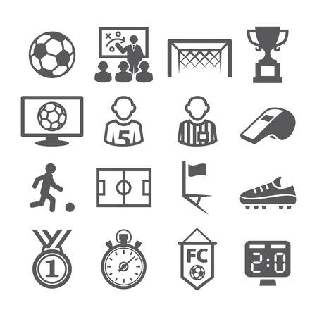 futbol soccer: Gray iconos del fútbol fijado en el fondo blanco