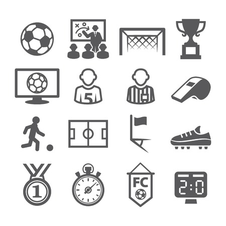 soccer shoes: Gray Soccer Icons set on white background Illustration