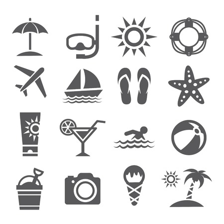 watermelon boat: Gray Summer Icons set on white background