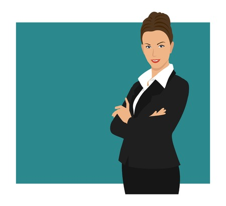 arms folded: A business woman wearing a suit with her arms folded Illustration